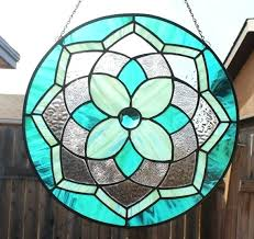 stained glass windows design stained glass double teal jeweled mandala stained glass window panel large stained