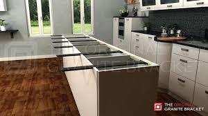 kitchen island granite countertops island support bracket installed long view by the original granite bracket