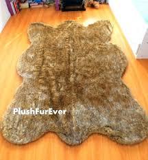 fake animal skin rugs fake animal skin rugs brown tip wolf faux fur bearskin shape fake animal skin rugs