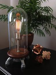 tall industrial glass dome table lamp with rotary dimmer