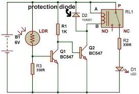 how to use a relay build circuit protection diode in the circuit