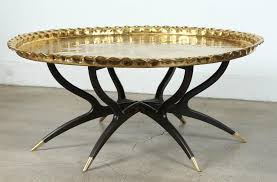 Large Polished Brass Tray Coffee Table On Spider Leg 3