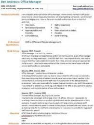 office manager cv example office manager resume examples