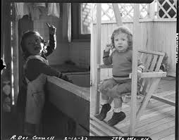 Two pictures of two-year-old Rosita Dee Cornell by a sink and in a ...