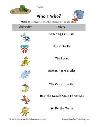Dr. Seuss Matching Worksheet | Have Fun Teaching