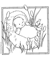 Baby Moses In De Bosjes Rieten Mandje Oude Testament Kleurplaten