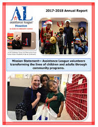 Assistance League of Houston Annual Report 2017-2018 by  AssistanceLeagueOfHouston - issuu