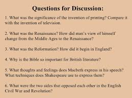 the renaissance literature questions
