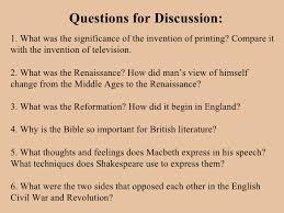 the renaissance literature questions