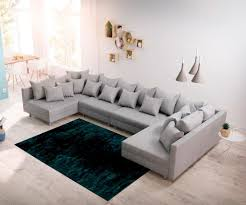 Couch Clovis Xl Grau Flachgewebe Wohnlandschaft Real
