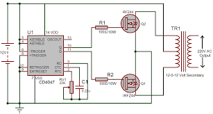 Inverter Circuit Design Using Mosfet 12v Dc To 220v Ac Inverter Circuit