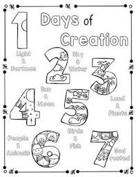 Days Of Creation Coloring Page And Handwriting Practice Primary