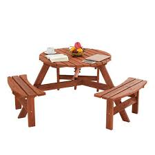 outdoor wooden round garden 6 seater picnic bench table patio terrace furniture 115 99 pic uk