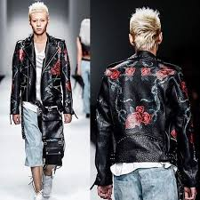 christophe terzian painted roses leather biker jacket is a staple in his collections punk and rock n roll drama esthetic fused with the romanticism of