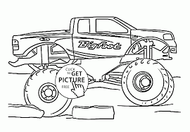 Small Picture Cool Monster Truck Bigfoot coloring page for kids transportation