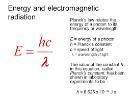 52 energy and electromagnetic radiation planck s law relates the energy of a photon to its frequency