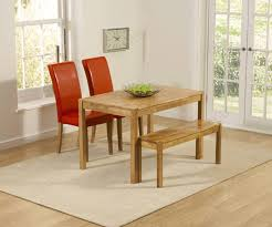 mark harris promo solid oak dining set 120cm rectangular with 2 atlanta red faux leather