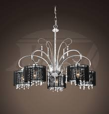 aegean black shade 5 light chrome chandelier 25 5 wx64 h xtkl661hlj295x
