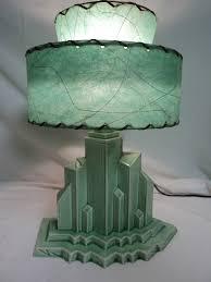 antique table lamp art deco lighting mid centlury new york city scape fiber shade