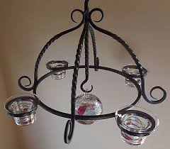 partylite mosaic wrought iron candle chandelier w tealight cups holders sphere