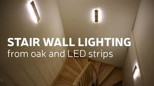 diy stair wall lighting from oak and led strips sconces staircase baobab candles small lamps with cords modern lights pier one tall flower pots glass