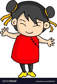 Cute asian cartoon characters