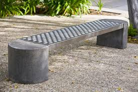 Foundation Bench shown with half-round concrete ends and Stainless Steel  seat with Sandstone finish