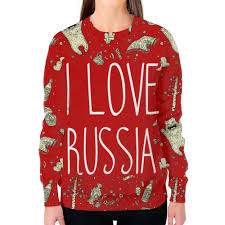 Заказать свитшот женский с полной запечаткой I <b>love</b> Russia (Я ...