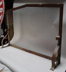 beautiful large scale fireplace screen from the arts crafts era made of hand hammered copper screen measures 31 x 45 x 8