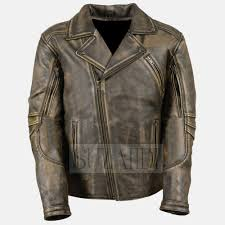 men s distressed brown triple stitch detailing double rider real leather jacket