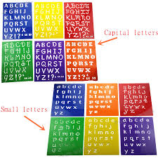 Templates Alphabet Letters Us 6 79 6pc Stencils Kids Small Capitall Alphabet Letter Drawing Templates Children Educational Hot Toys Plastic Painting Board277x215mm In Drawing
