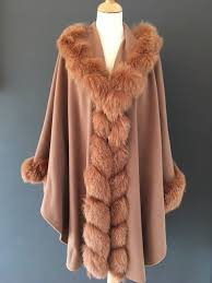luxurious women s cashmere winter coat with real saga fox fur collar and arms claire