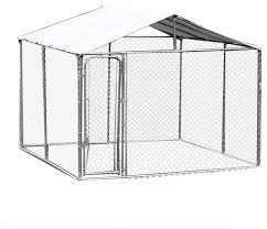 pawhut 10 x10 x6 outdoor chain link box kennel dog house with cover