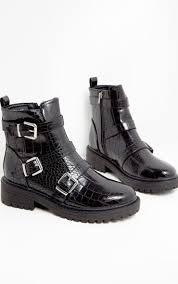 black triple strap buckle biker boot image 1