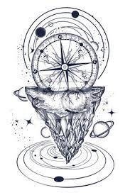 Fototapeta Horské A Vesmírné Tetování A Tričko Design Tetování Pro Cestovatele