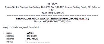 Surat perjanjian kontrak kerja semua perusahaan pada dasarnya sama karena di indonesia sendiri segala sesuatu yang berhubungan dengan tenaga kerja dan karyawan sudah diatur dalam. Contoh Surat Perjanjian Kerja Karyawan Lengkap Karyaone