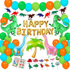 Birthday Party Decorations For Kids Cake Topper Garland Latex Balloons Tattoo Dinosaur Birthday Birthday Decoration Sets Buy Birthday Party Supplies