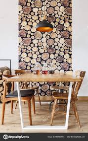 Esszimmer Mit Holzdesign Stockfoto Photographeeeu