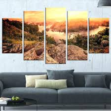 vintage mountain sunrise 5 piece wall art on wrapped canvas set glass design
