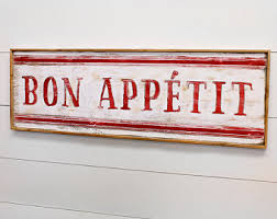 Bon Appetit Wall Decor Plaques Signs French cafe wall art Etsy 93
