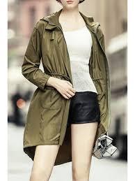 big pockets drawstring trench coat green l