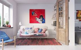 Red And Turquoise Living Room Living Room White Futons Gray Rug Gray Sofa White Pendant Lights