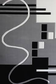 gray black white living room area rugs geometric machine made 3 piece set contemporary area rugs by rug addiction