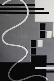 gray black white living room area rugs geometric machine made 3