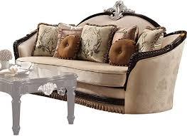 Amazon.com: acme Ernestine Sofa w/7 Pillows, Tan Fabric & Black ...