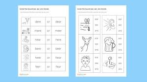 Phonics is a method of teaching kids to learn to read by helping them to match the sounds of letters, and groups of letters, to distinguish words. Ere Phonics Worksheets Circle The Sound Ear Eer Kindergarten Printable Jolly For Alphabet Jaimie Bleck