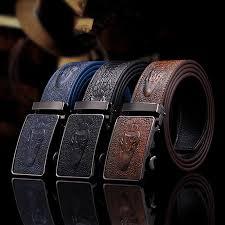 Automatic Buckle <b>Split Leather Men</b> Casual Belts Black Blue Brown ...