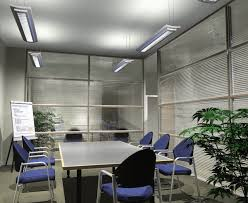 office lighting ideas. Small Office Meeting Room Design With Hanging LED Lamp Lighting Fixtures Rectangle Table And Brown Chairs Plus Glass Window Blinds Ideas
