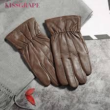2018 Winter <b>Men's</b> Warm <b>Gloves</b> Natural <b>Suede Leather Gloves</b> ...