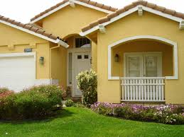 Exterior Cool Yellow Exterior Paint Feats With Nice White Garage - Exterior paint house ideas